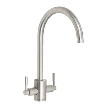 Rangemaster Aquatrend Twin Lever Monobloc Kitchen Mixer Tap - Brushed Chrome
