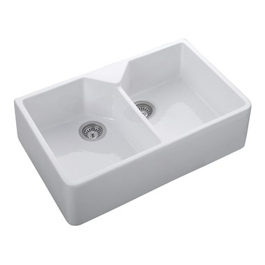 Rangemaster Double Belfast 2 Bowl White Fire Clay Ceramic Sink