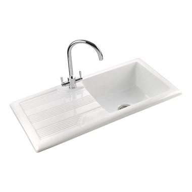 Rangemaster Portland 1 Bowl White Fire Clay Ceramic Sink - Reversible