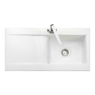 Rangemaster Nevada 1 Bowl White Fire Clay Ceramic Sink - Reversible