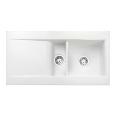 Rangemaster Nevada 1.5 Bowl White Fire Clay Ceramic Sink - Reversible
