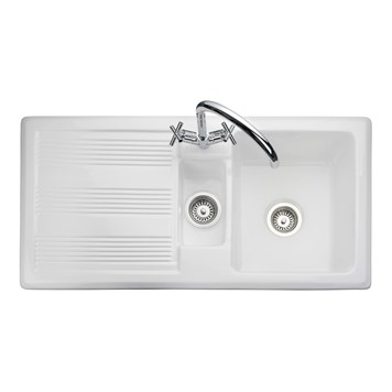 Rangemaster Portland 1.5 Bowl White Fire Clay Ceramic Sink - Reversible
