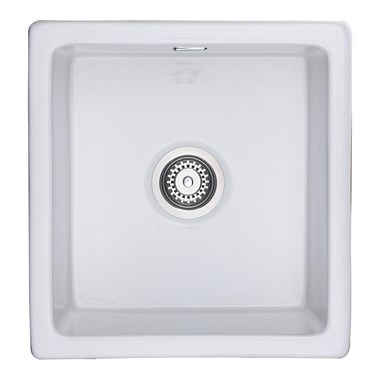 Rangemaster Rustique Undermount 450mm 1 Bowl White Fire Clay Ceramic Sink - Reversible