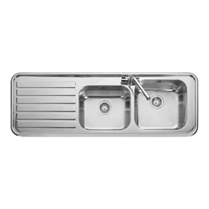 Luxe 2 Bowl Polished Stainless Steel Sink & Waste Kit with Left Hand Drainer - 1500 x 508mm