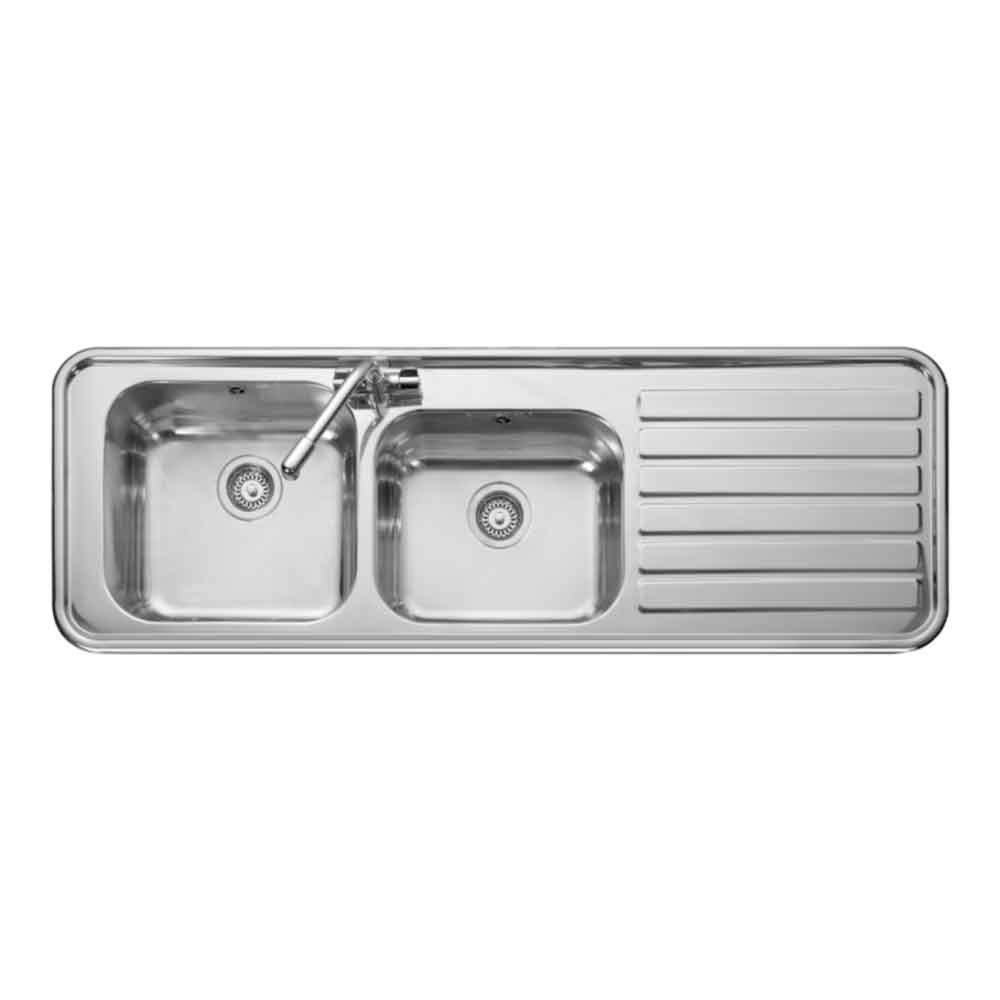 Luxe 2 Bowl Polished Stainless Steel Sink & Waste Kit 1500 x 508mm