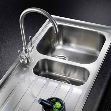 Rangemaster Cruciform Monobloc Kitchen Sink Mixer Tap - Brushed Chrome