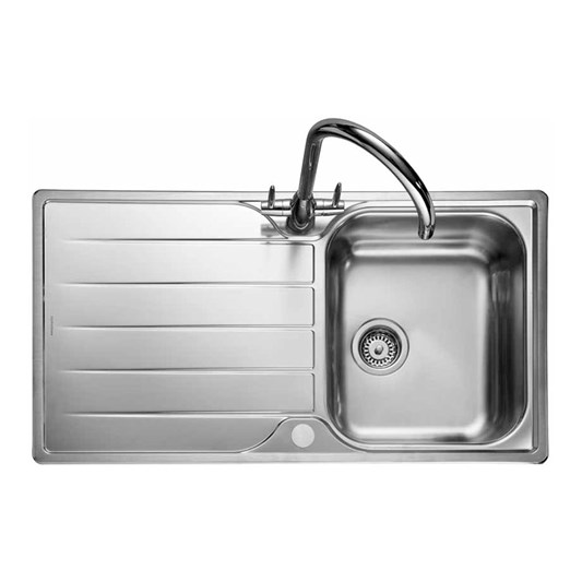 Rangemaster Michigan Single Bowl Brushed Stainless Steel Sink & Waste Kit with Reversible Drainer - 950 x 508mm