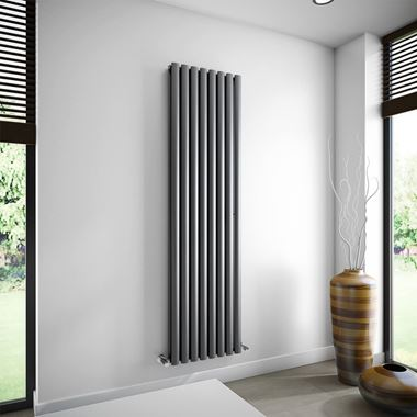 Brenton Oval Double Panel Vertical Radiator - Anthracite - 1800 x 472mm