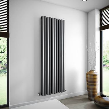 Brenton Oval Double Panel Vertical Radiator - Anthracite - 1800 x 590mm