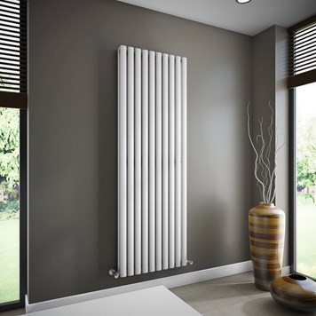 Brenton Oval Double Panel Vertical Radiator - White - 1800 x 590mm