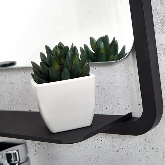 Vellamo Matt Black Bathroom Mirror Shelf 900 X 500mm Tap Warehouse