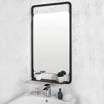Vellamo Matt Black Bathroom Mirror & Shelf - 900 x 500mm