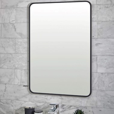 Vellamo Matt Black Rectangular Bathroom Mirror - 700 x 500mm