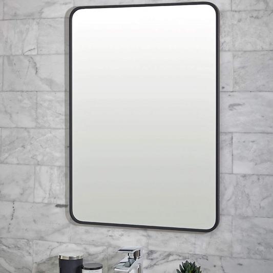 Vellamo Matt Black Rectangular Bathroom Mirror 700 X 500mm Tap Warehouse