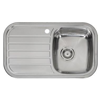 Reginox Regent 10 Single Bowl Stainless Steel Inset Sink & Waste with Left Hand Drainer - 805 x 480mm