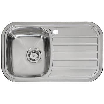Reginox Regent 10 Single Bowl Stainless Steel Inset Sink & Waste with Right Hand Drainer - 805 x 480mm