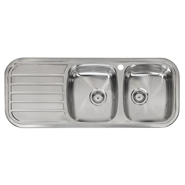 Reginox Regent 30 Double Bowl Stainless Steel Inset Sink & Waste with Left Hand Drainer - 1190 x 480mm