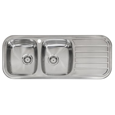 Reginox Regent 30 Double Bowl Stainless Steel Inset Sink & Waste with Right Hand Drainer - 1190 x 480mm