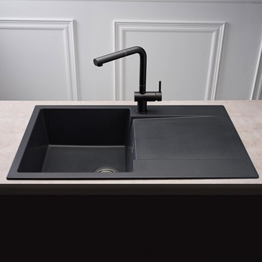 Reginox Amsterdam Compact Single Bowl Black Silvery Granite Composite Kitchen Sink & Waste Kit with Reversible Drainer - 860 x 500mm