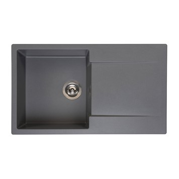 Reginox Amsterdam Compact Single Bowl Grey Silvery Granite Composite Kitchen Sink & Waste Kit with Reversible Drainer - 860 x 500mm