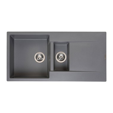 Reginox Amsterdam 1.5 Bowl Grey Silvery Granite Composite Kitchen Sink & Waste Kit with Reversible Drainer - 1000 x 500mm