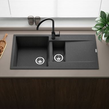 Reginox Amsterdam 1.5 Bowl Black Silvery Granite Composite Kitchen Sink & Waste Kit with Reversible Drainer - 1000 x 500mm