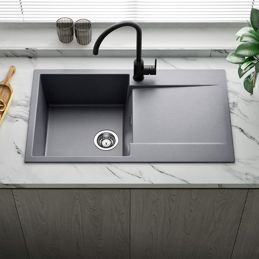 Reginox Amsterdam Compact Single Bowl Grey Silvery Granite Composite Kitchen Sink Waste Kit With Reversible Drainer 860 X 500mm Tap Warehouse