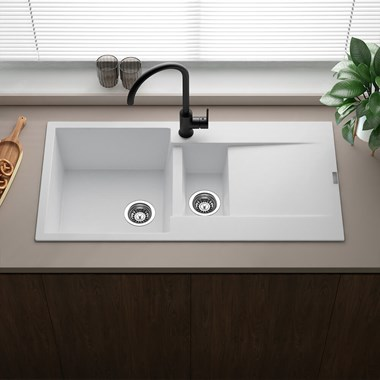 Reginox Amsterdam 1.5 Bowl White Granite Composite Kitchen Sink & Waste Kit with Reversible Drainer - 1000 x 500mm