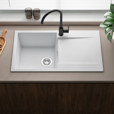 Reginox Amsterdam Compact Single Bowl White Granite Composite Kitchen Sink & Waste Kit with Reversible Drainer - 860 x 500mm