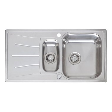 Reginox Diplomat 1.5 Eco Reversible 1.5 Bowl Stainless Steel Inset Sink & Pop-Up Waste - 950 x 500mm