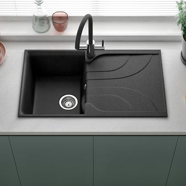 Reginox Ego Ghisa Black Granite Compact Single Bowl Kitchen sink with Reversible Drainer & Waste Kit - 860 x 500mm