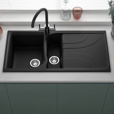 Reginox Ego 1.5 Bowl Black Granite Composite Kitchen Sink with Reversible Drainer & Waste Kit - 1000 x 500mm