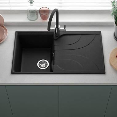 Reginox Ego Black Granite Compact Single Bowl Kitchen sink with Reversible Drainer & Waste Kit - 860 x 500mm