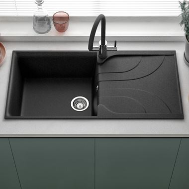 Reginox Ego Ghisa Black Granite Composite Large Single Bowl Kitchen Sink with Reversible Drainer & Waste Kit - 1000 x 500mm