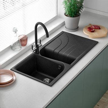 Reginox Ego 1.5 Bowl Ghisa Black Granite Composite Kitchen Sink with Reversible Drainer & Waste Kit - 1000 x 500mm
