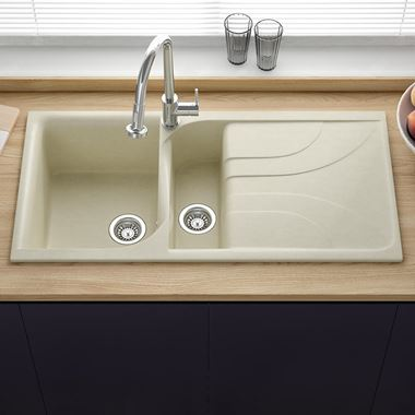 Reginox Ego Cream Granite Composite 1.5 Bowl Sink with Reversible Drainer & Waste Kit - 1000 x 500mm