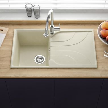Reginox Ego Cream Granite Compact Single Bowl Kitchen sink with Reversible Drainer & Waste Kit - 860 x 500mm