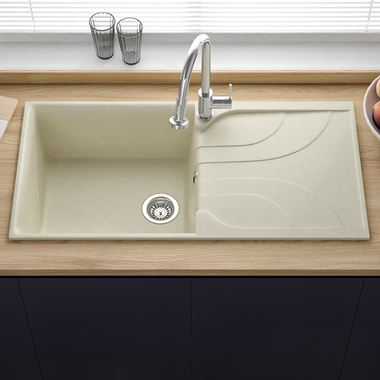 Reginox Ego Cream Granite Composite Large Single Bowl Kitchen Sink with Reversible Drainer & Waste Kit - 1000 x 500mm