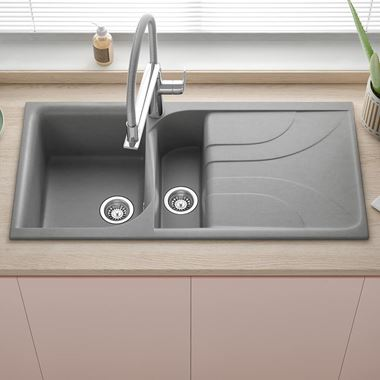 Reginox Ego 1.5 Bowl Titanium Grey Granite Composite Kitchen Sink with Reversible Drainer & Waste Kit - 1000 x 500mm