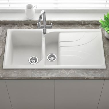 Reginox Ego White Granite Composite 1.5 Bowl  Kitchen Sink with Reversible Drainer & Waste Kit - 1000 x 500mm