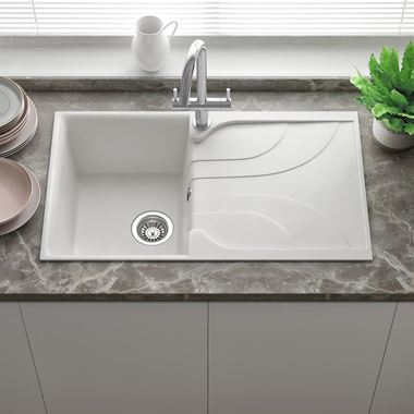 Reginox Ego White Granite Compact Single Bowl Kitchen sink with Reversible Drainer & Waste Kit - 860 x 500mm