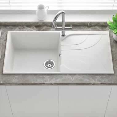 Reginox Ego White Granite Composite Large Single Bowl Kitchen Sink with Reversible Drainer & Waste Kit - 1000 x 500mm