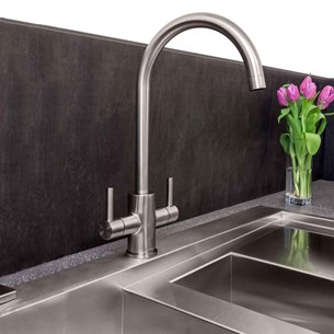 Reginox Genesis Twin Lever Kitchen Mixer Tap - Brushed Nickel