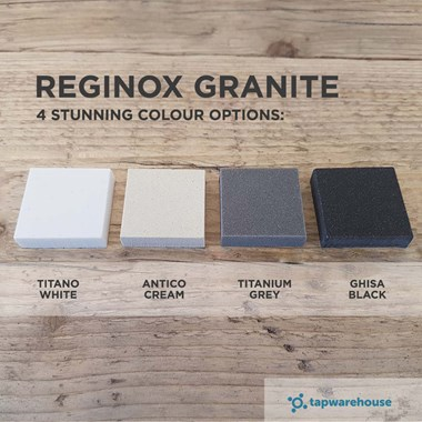 Reginox Ego Single Small Bowl Cream Granite Composite Kitchen Sink & Waste Kit with Reversible Drainer - 860 x 500mm