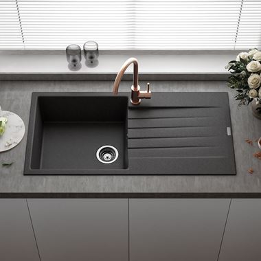 Reginox Harlem 1 Bowl Black Silvery Granite Composite Sink & Waste Kit and Harbour Single Lever Mono Kitchen Mixer