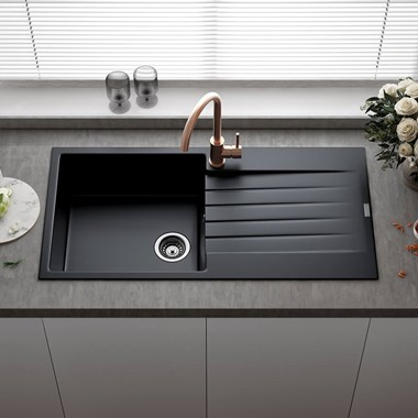 Reginox Harlem 1 Bowl Black Silvery Granite Composite Kitchen Sink & Waste Kit - 1000 x 500mm
