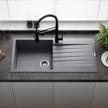 Reginox Harlem 1 Bowl Grey Silvery Granite Composite Kitchen Sink & Waste Kit - 1000 x 500mm