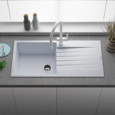 Reginox Harlem 1 Bowl White Granite Composite Kitchen Sink & Waste Kit - 1000 x 500mm