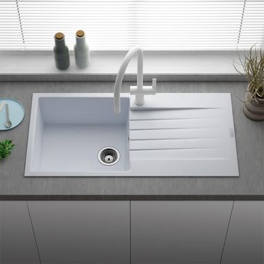 Reginox Harlem 1 Bowl White Granite Composite Sink & Waste Kit and Harbour Single Lever Mono Kitchen Mixer