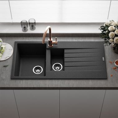 Reginox Harlem 1.5 Bowl Black Silvery Granite Composite Kitchen Sink & Waste Kit - 1000 x 500mm